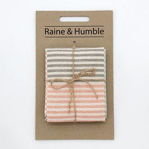 Raine & Humble Pink Coral & Aqua Kitchen Towel Set